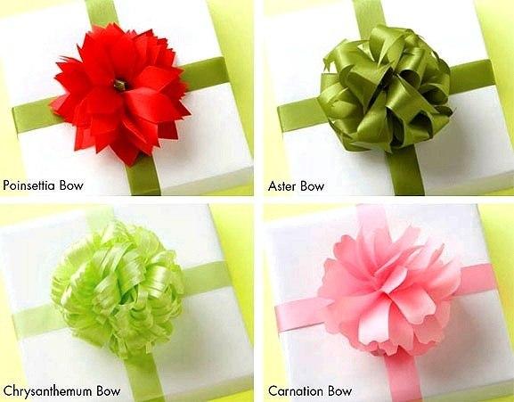 Как сделать бантики на подарочную упаковку