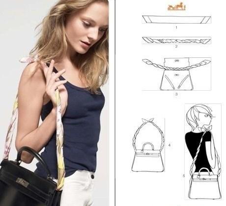 Завязать платок можно в виде ремешка на сумку.