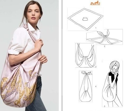 Как завязать платок в виде спортивной сумки.